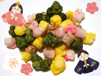 """Easy """"Arare"""" rice crackers with dried rice cake -Perfect for Girls' Festival♪-"""