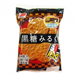 Sanko Kokuto(Brown Sugar) Milk Rice Crackers 2x7p