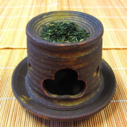 Oribe Irabo Cha Kouro Cho (Tea Incense Burner Long)