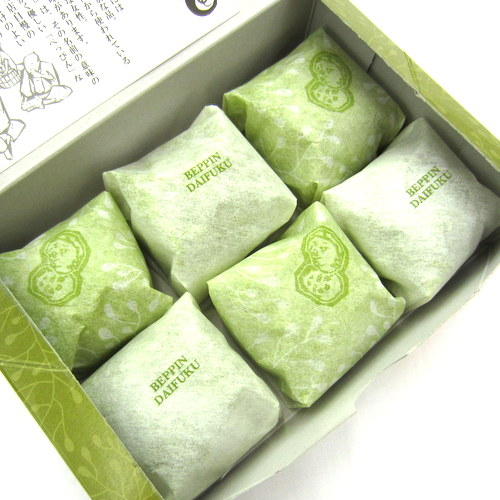 Tonyu Matcha Cream Daifuku(Non-Glutinous Rice Cakes with Green Tea Soy Milk Cream & Red Bean Paste) 40gx6p